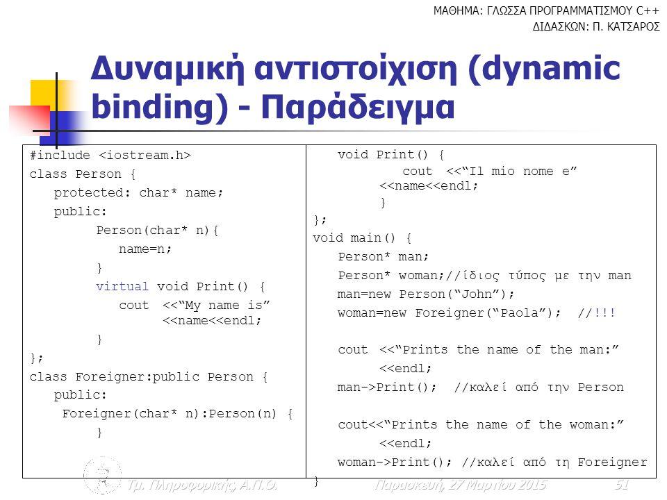 Δυναμική αντιστοίχιση (dynamic binding) - Παράδειγμα