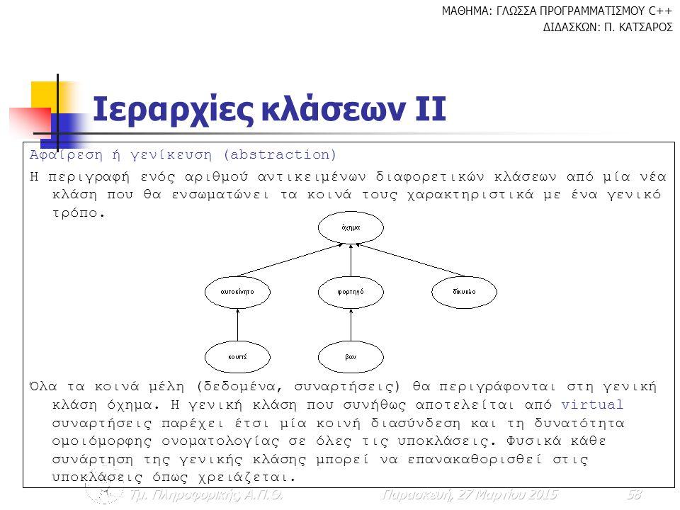 Ιεραρχίες κλάσεων ΙΙ Αφαίρεση ή γενίκευση (abstraction)