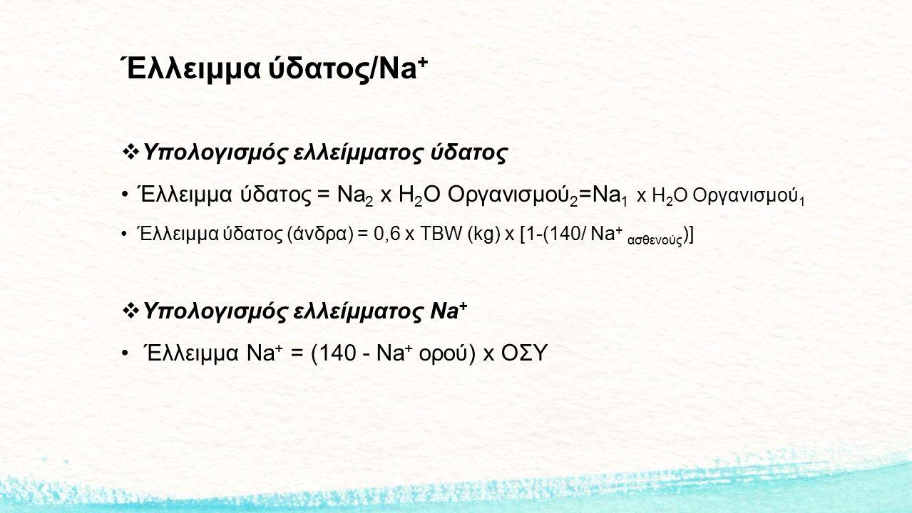 Έλλειμμα ύδατος/Na+ Υπολογισμός ελλείμματος ύδατος
