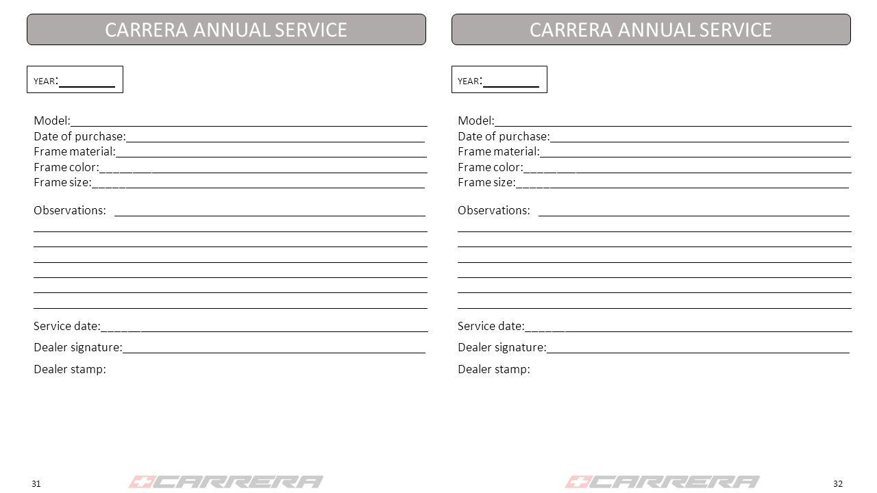 CARRERA ANNUAL SERVICE CARRERA ANNUAL SERVICE