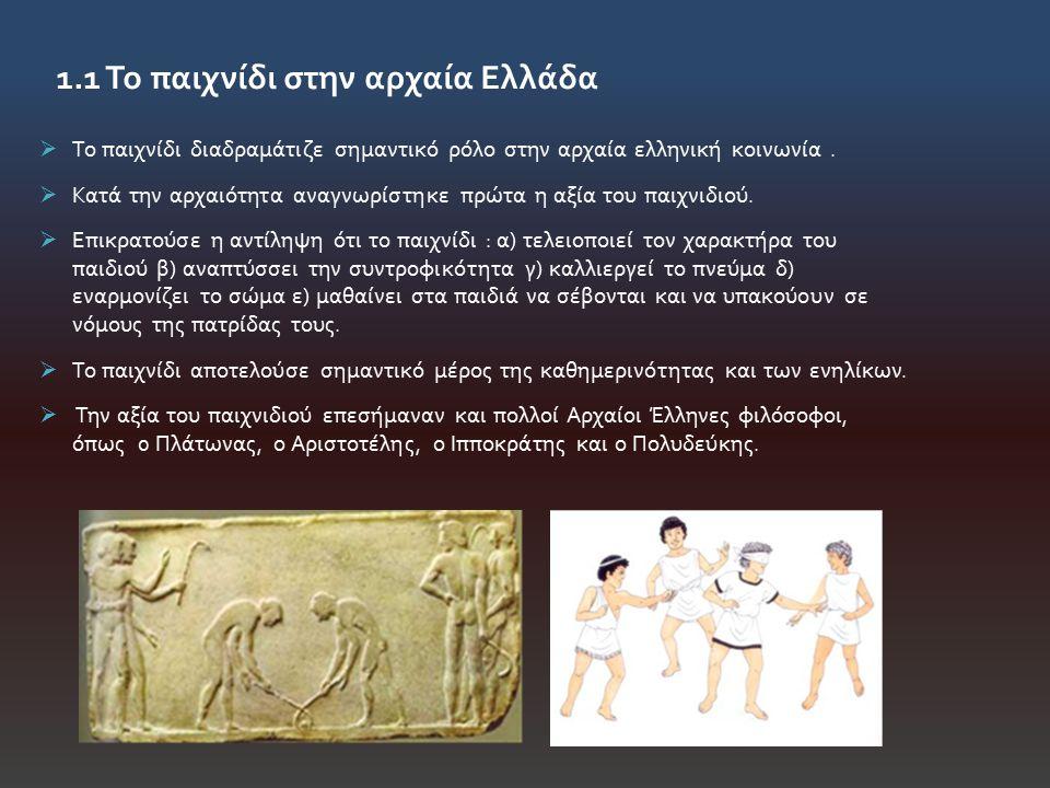 1.1 Το παιχνίδι στην αρχαία Ελλάδα