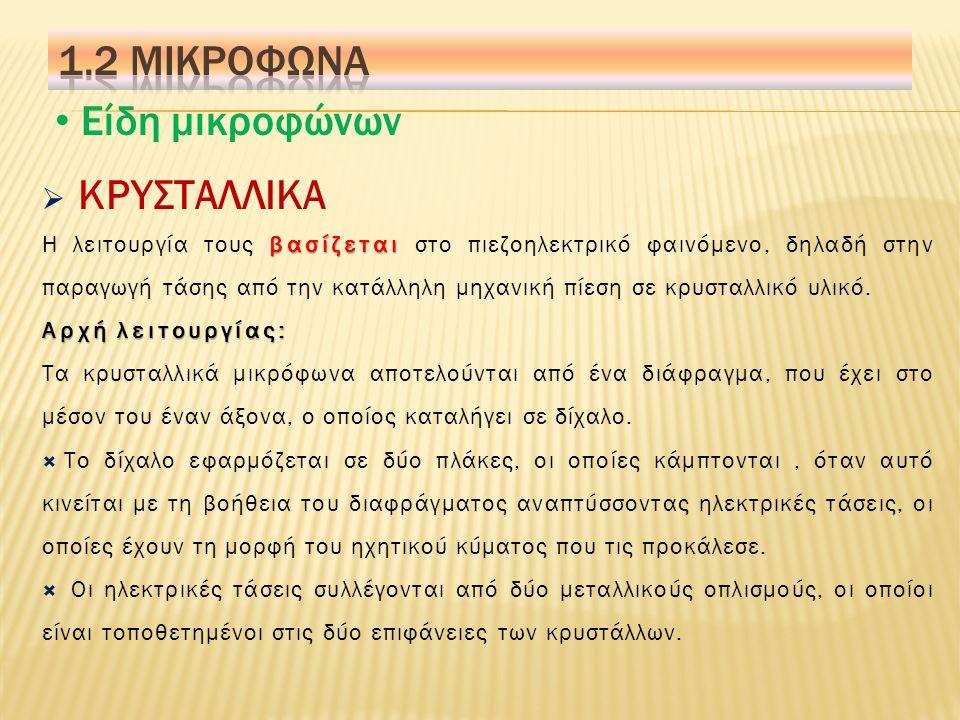 1.2 Μικροφωνα Είδη μικροφώνων ΚΡΥΣΤΑΛΛΙΚΑ
