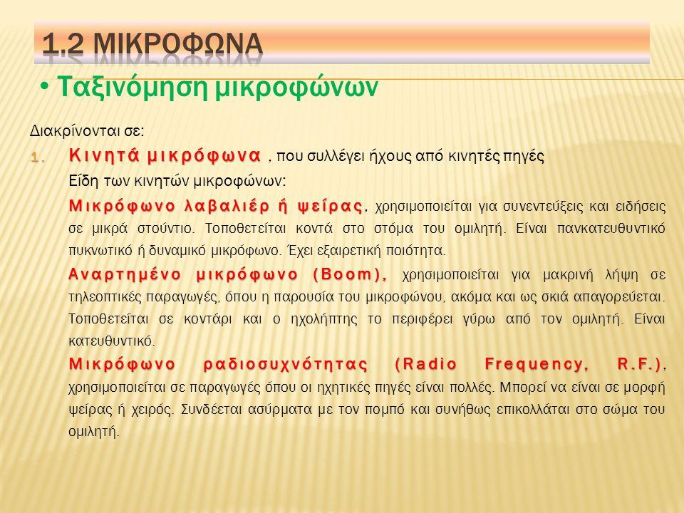Ταξινόμηση μικροφώνων