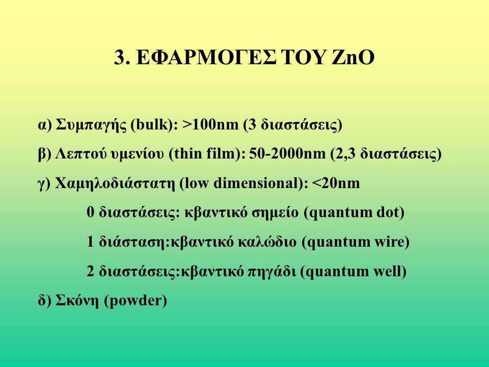3. ΕΦΑΡΜΟΓΕΣ ΤΟY ZnO α) Συμπαγής (bulk): >100nm (3 διαστάσεις)