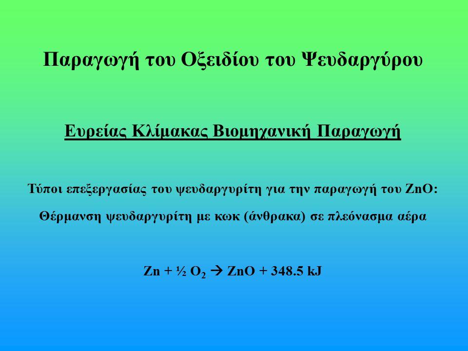 Παραγωγή του Οξειδίου του Ψευδαργύρου
