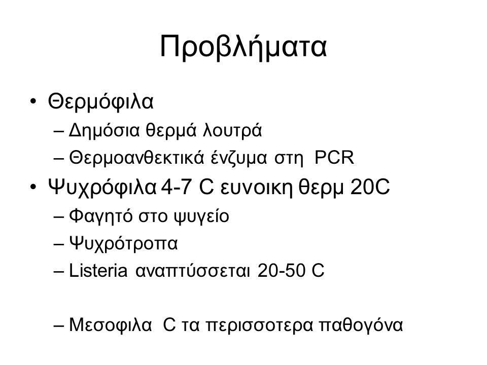Προβλήματα Θερμόφιλα Ψυχρόφιλα 4-7 C ευνοικη θερμ 20C