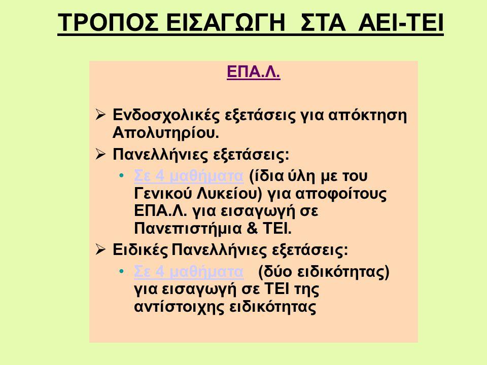 ΤΡΟΠΟΣ ΕΙΣΑΓΩΓΗ ΣΤΑ ΑΕΙ-ΤΕΙ