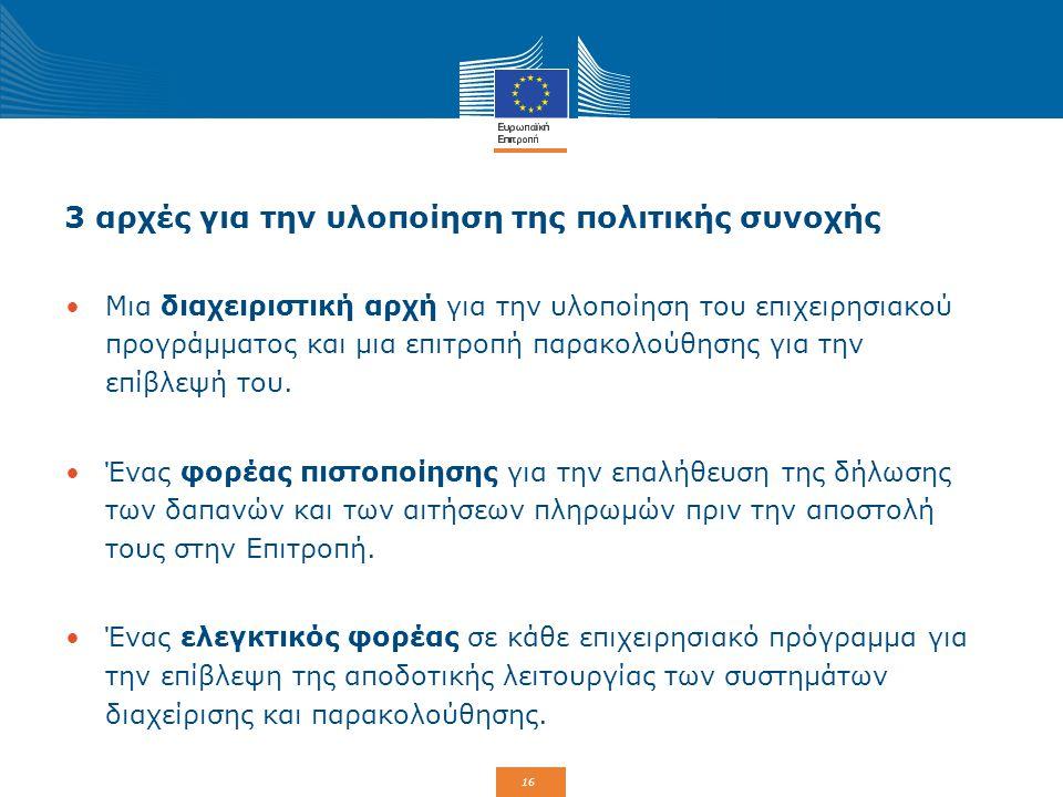 3 αρχές για την υλοποίηση της πολιτικής συνοχής