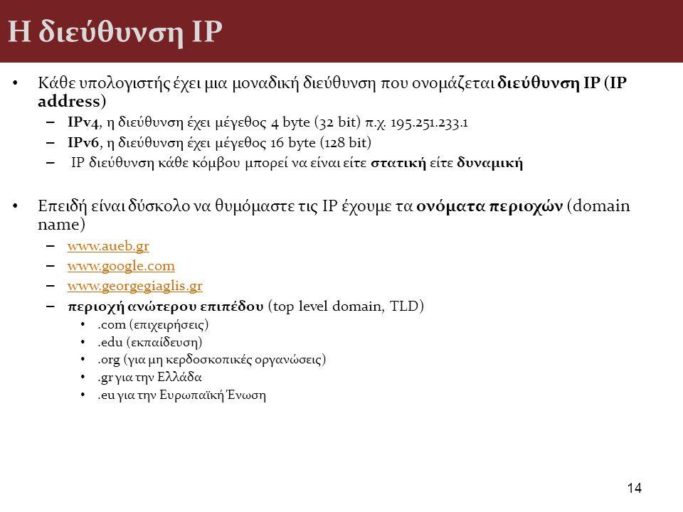 Η διεύθυνση ΙΡ Κάθε υπολογιστής έχει μια μοναδική διεύθυνση που ονομάζεται διεύθυνση IP (IP address)