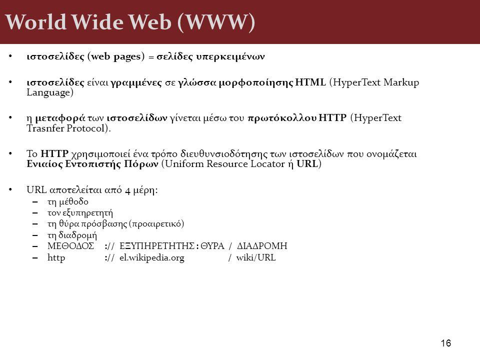 World Wide Web (WWW) ιστοσελίδες (web pages) = σελίδες υπερκειμένων