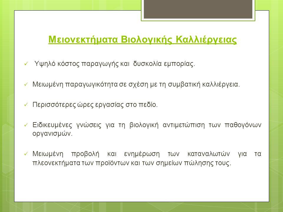 Μειονεκτήματα Βιολογικής Καλλιέργειας