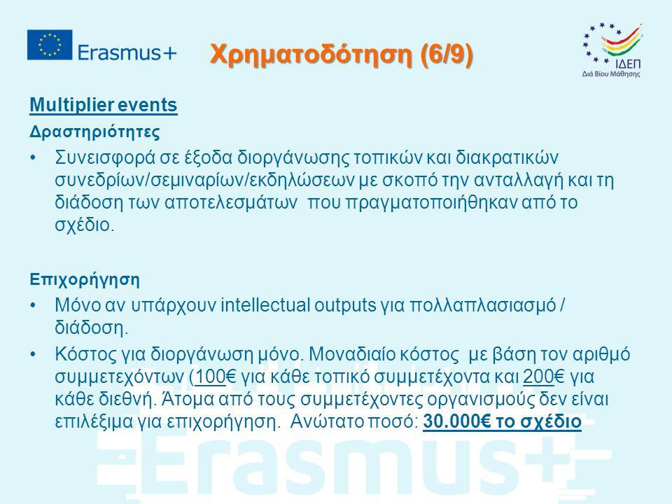 Χρηματοδότηση (6/9) Multiplier events