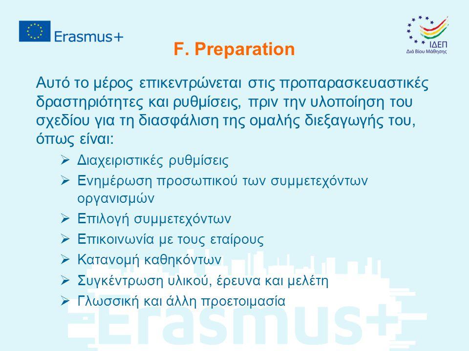 F. Preparation