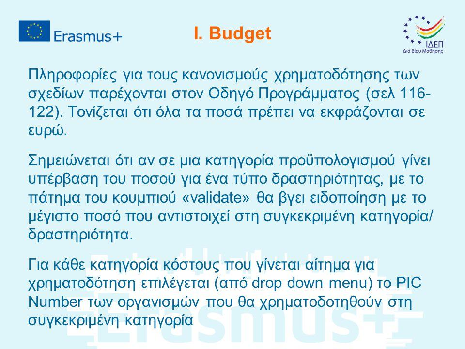 I. Budget