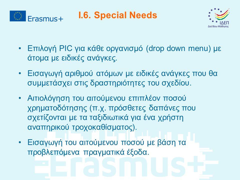 I.6. Special Needs Επιλογή PIC για κάθε οργανισμό (drop down menu) με άτομα με ειδικές ανάγκες.