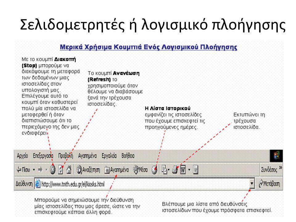 Σελιδομετρητές ή λογισμικό πλοήγησης
