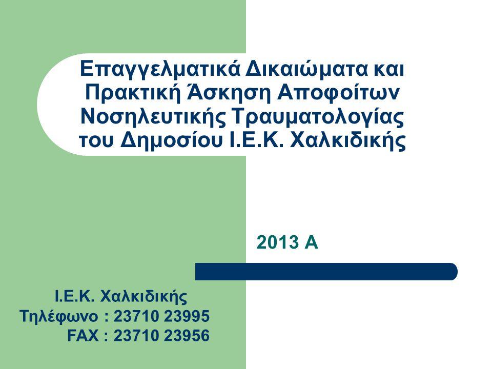 Επαγγελματικά Δικαιώματα και Πρακτική Άσκηση Αποφοίτων Νοσηλευτικής Τραυματολογίας του Δημοσίου Ι.Ε.Κ. Χαλκιδικής