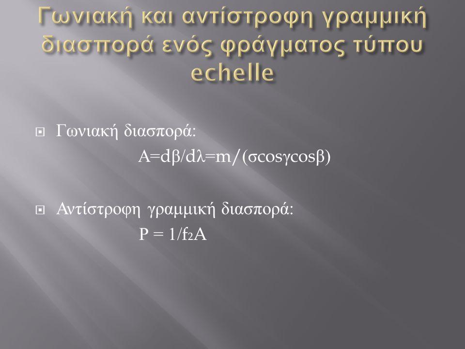 Γωνιακή και αντίστροφη γραμμική διασπορά ενός φράγματος τύπου echelle