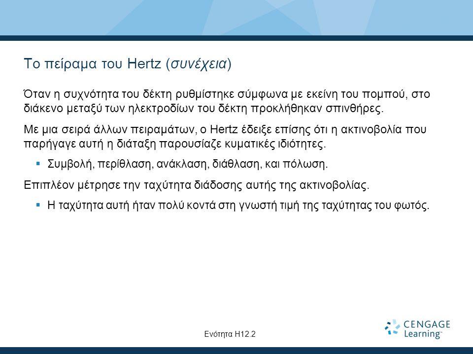 Το πείραμα του Hertz (συνέχεια)