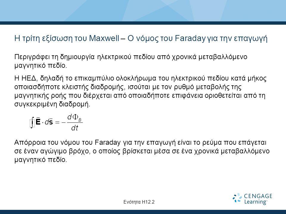 Η τρίτη εξίσωση του Maxwell – Ο νόμος του Faraday για την επαγωγή