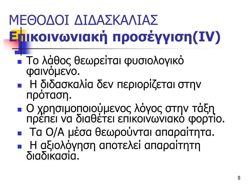 ΜΕΘΟΔΟΙ ΔΙΔΑΣΚΑΛΙΑΣ Επικοινωνιακή προσέγγιση(ΙV)