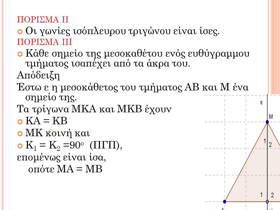 Οι γωνίες ισόπλευρου τριγώνου είναι ίσες.
