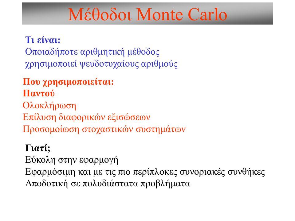 Μέθοδοι Monte Carlo Τι είναι: Οποιαδήποτε αριθμητική μέθοδος