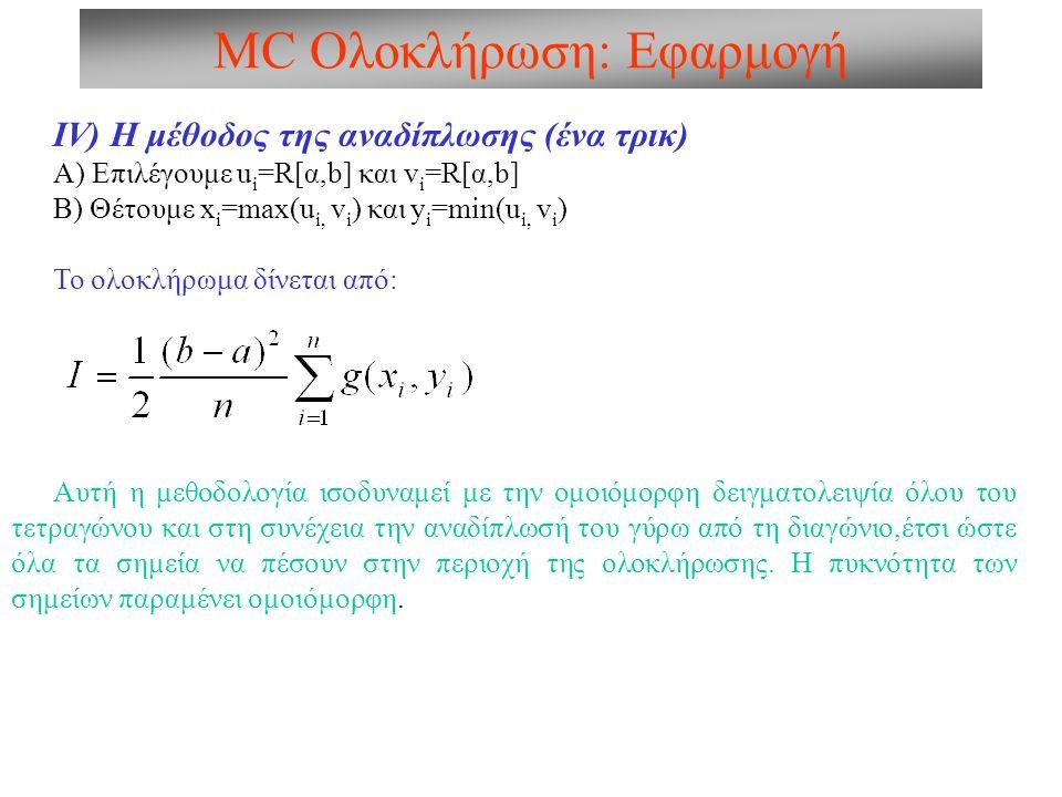 MC Ολοκλήρωση: Εφαρμογή