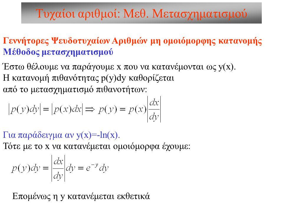 Τυχαίοι αριθμοί: Μεθ. Μετασχηματισμού