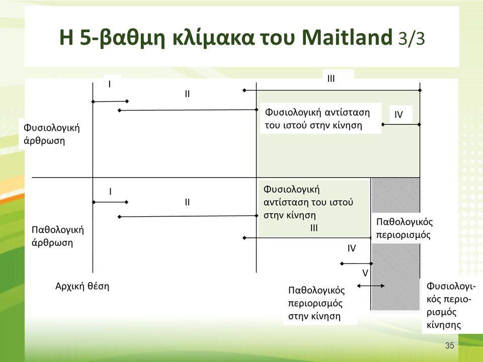 Χρήση της 5-βαθμης κλίμακας του Maitland 1/2