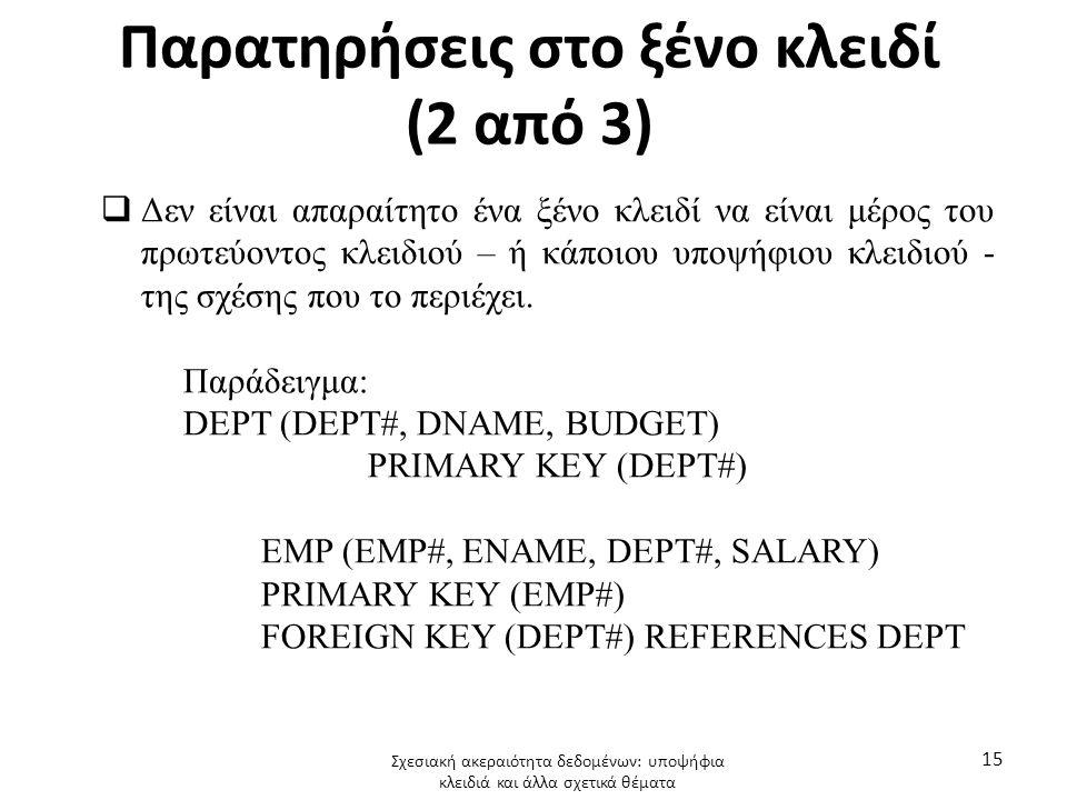 Παρατηρήσεις στο ξένο κλειδί (2 από 3)