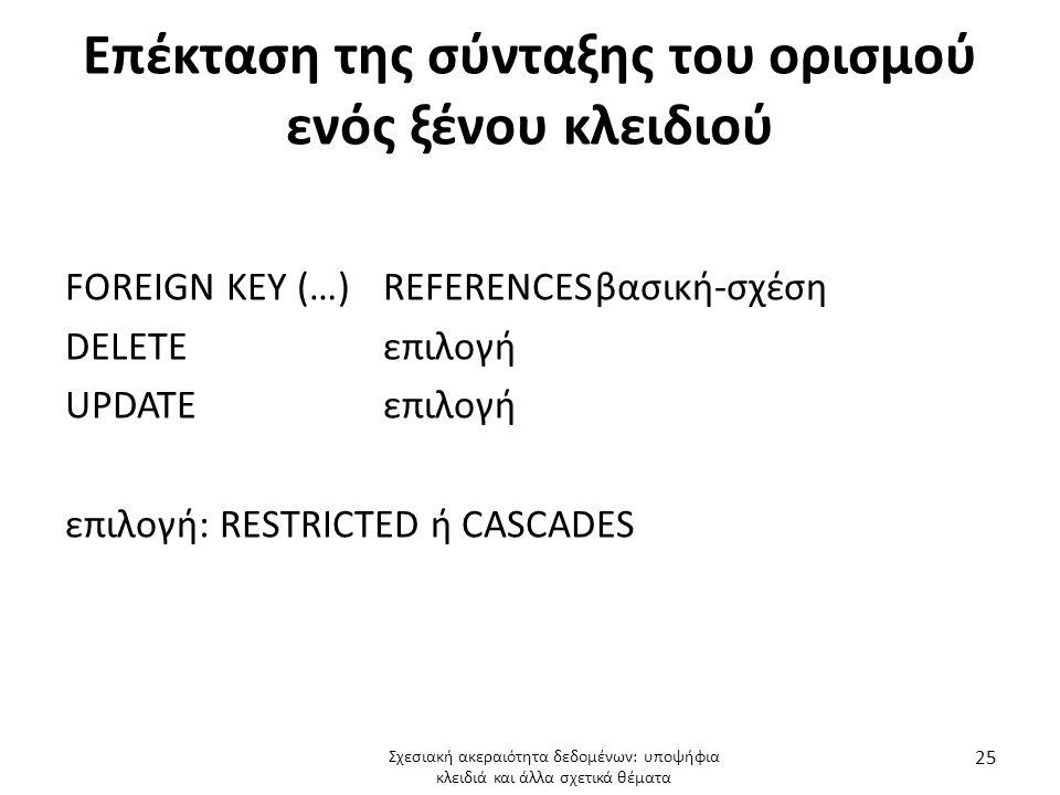Επέκταση της σύνταξης του ορισμού ενός ξένου κλειδιού
