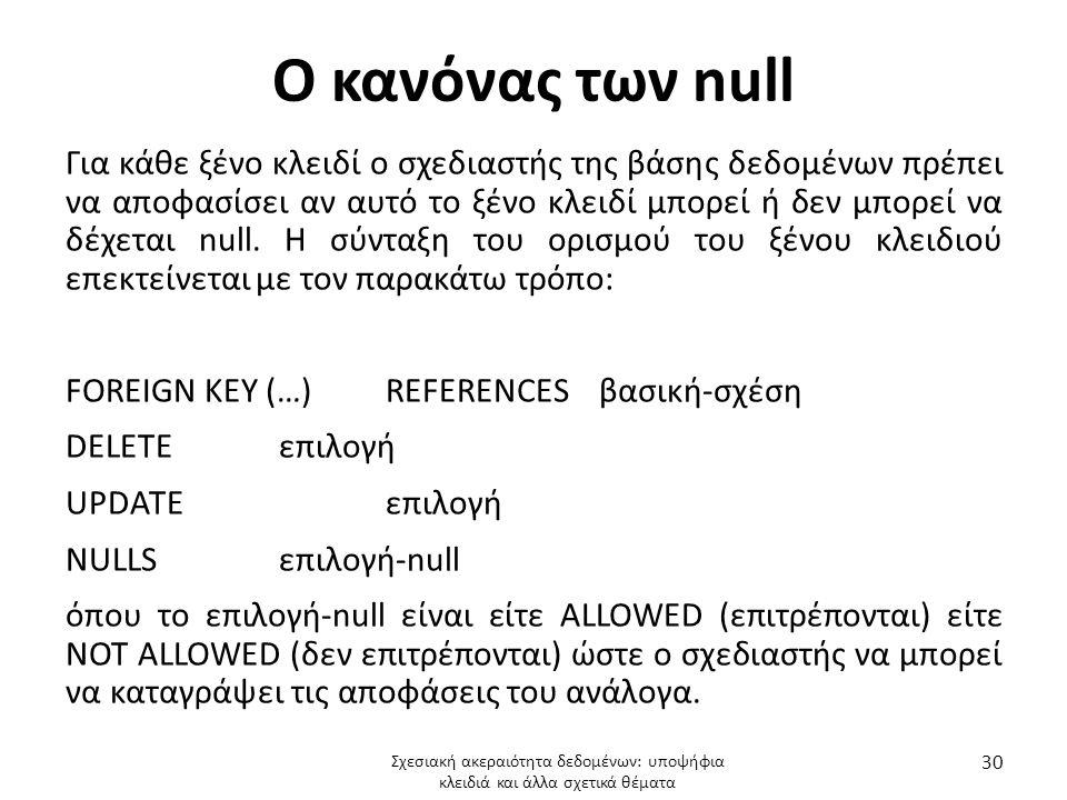 Ο κανόνας των null
