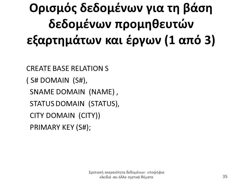 Ορισμός δεδομένων για τη βάση δεδομένων προμηθευτών εξαρτημάτων και έργων (1 από 3)
