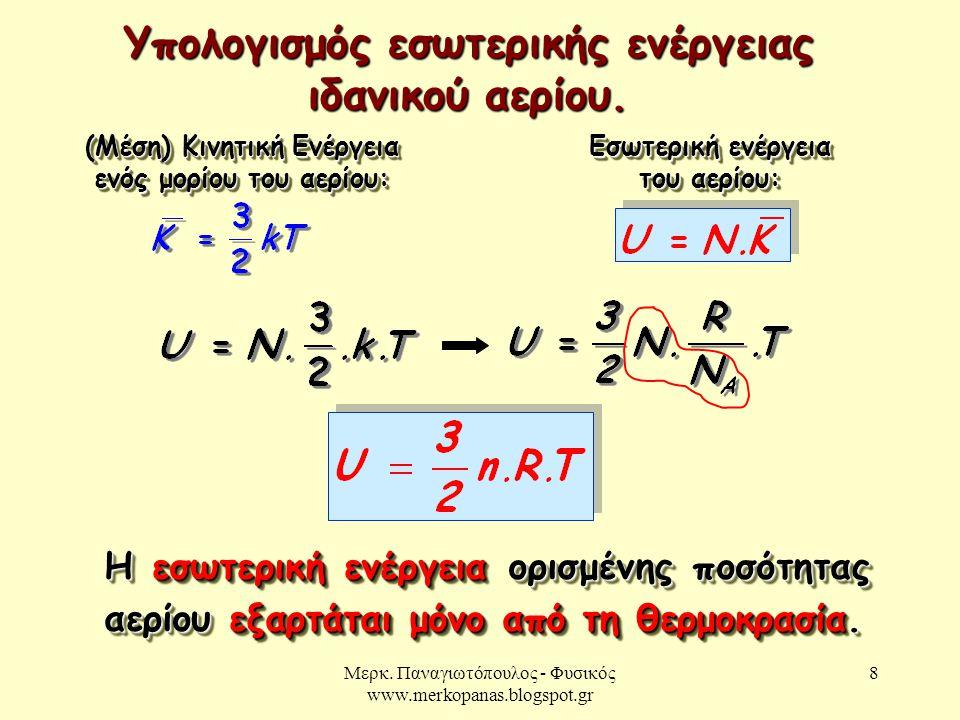 Υπολογισμός εσωτερικής ενέργειας ιδανικού αερίου.