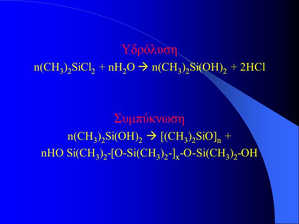 Υδρόλυση Συμπύκνωση n(CH3)2SiCl2 + nH2O  n(CH3)2Si(OH)2 + 2HCl