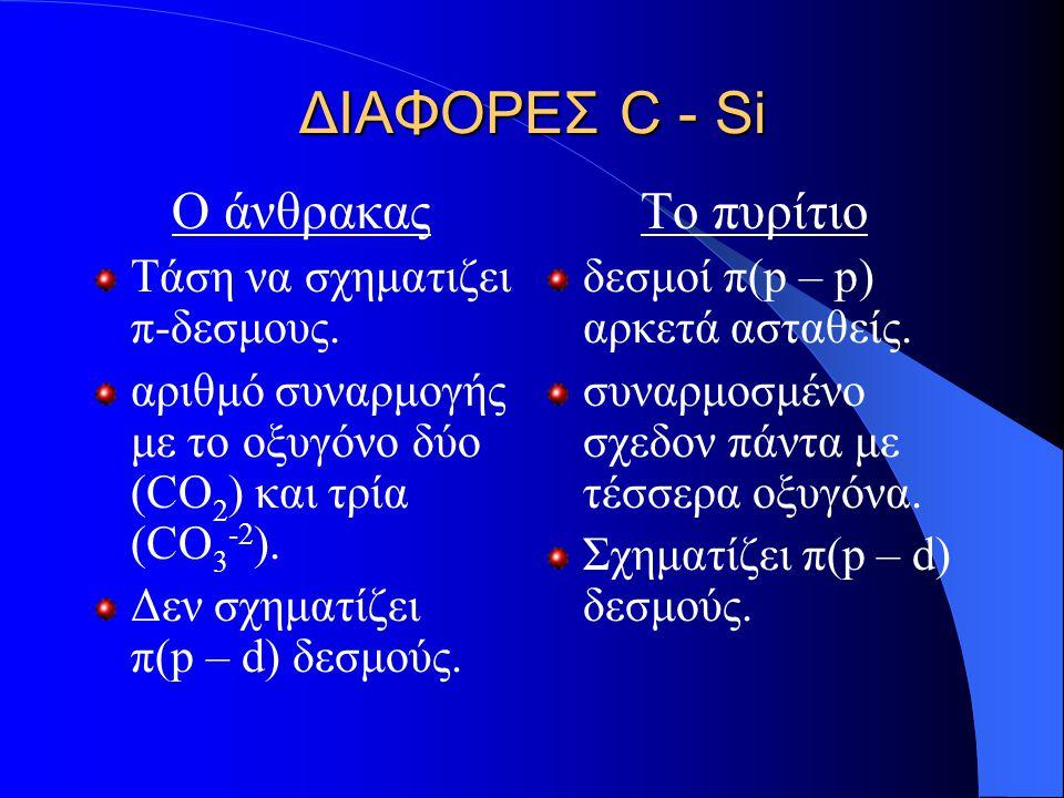 ΔΙΑΦΟΡΕΣ C - Si Ο άνθρακας Το πυρίτιο Τάση να σχηματιζει π-δεσμους.