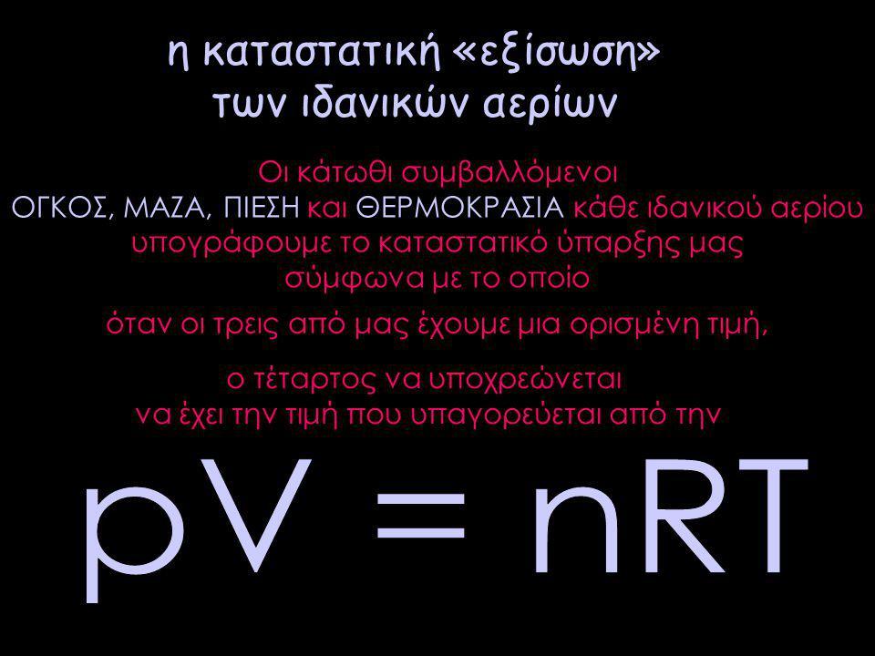 η καταστατική «εξίσωση» των ιδανικών αερίων