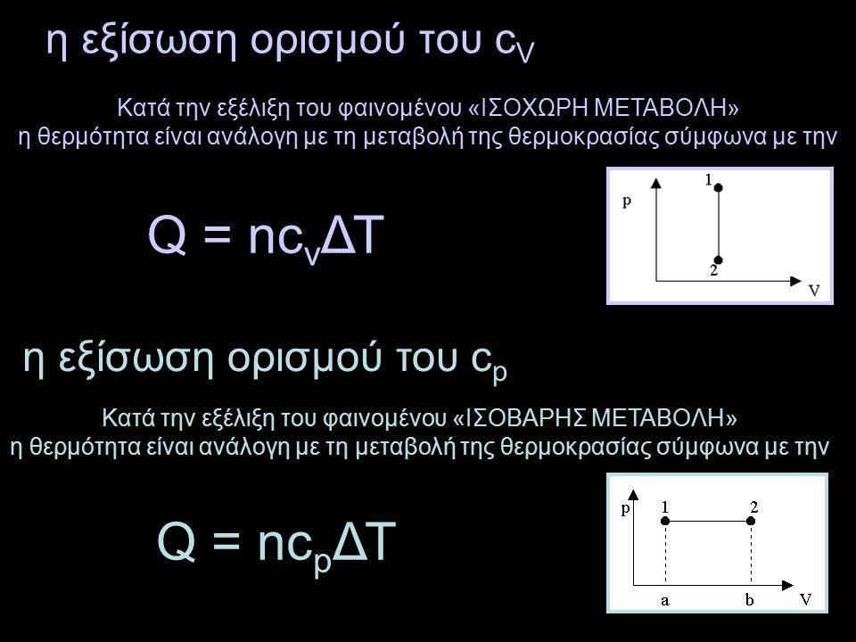 η εξίσωση ορισμού του cV