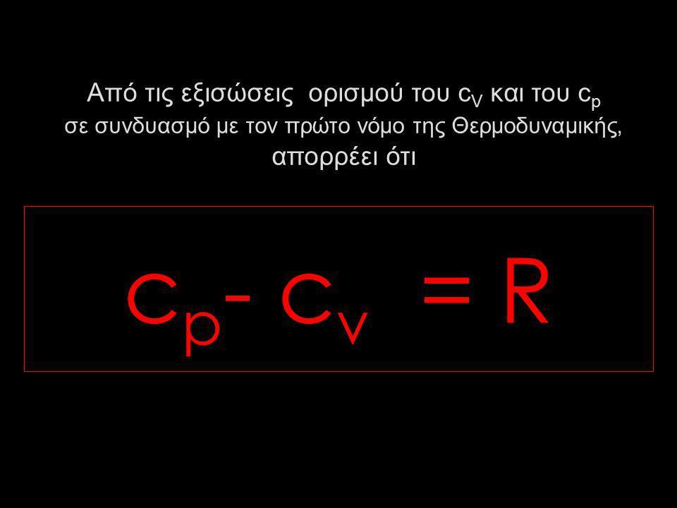 Από τις εξισώσεις ορισμού του cV και του cp σε συνδυασμό με τον πρώτο νόμο της Θερμοδυναμικής, απορρέει ότι
