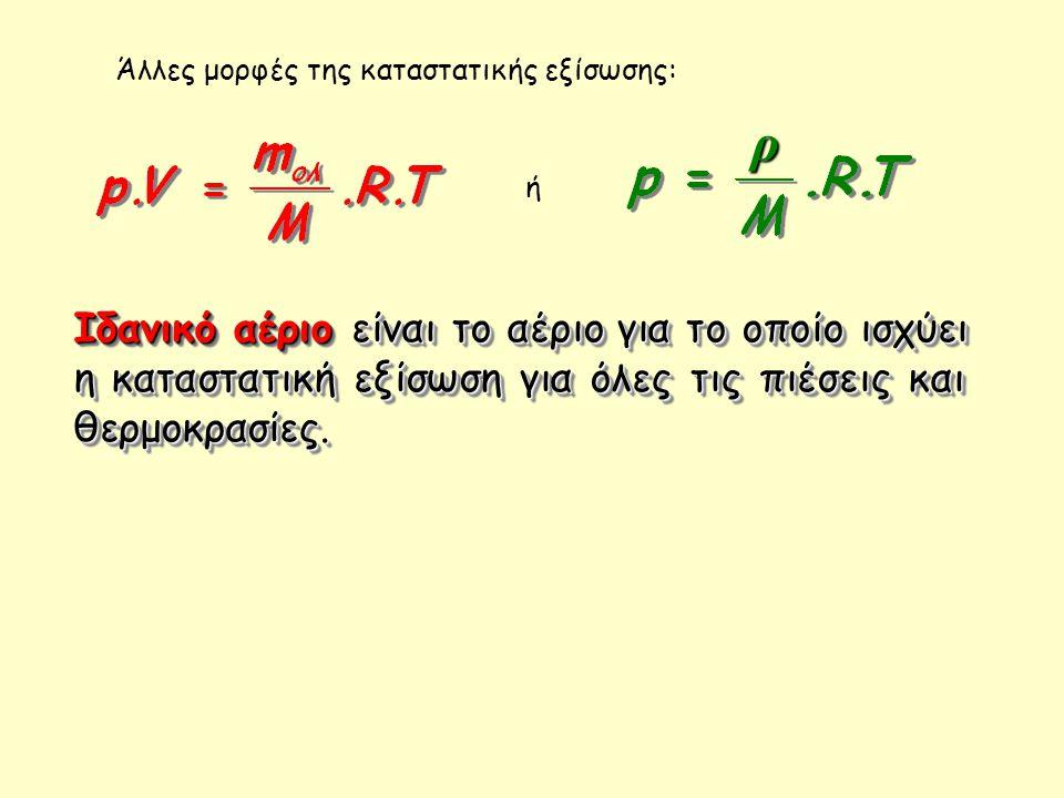 Άλλες μορφές της καταστατικής εξίσωσης: