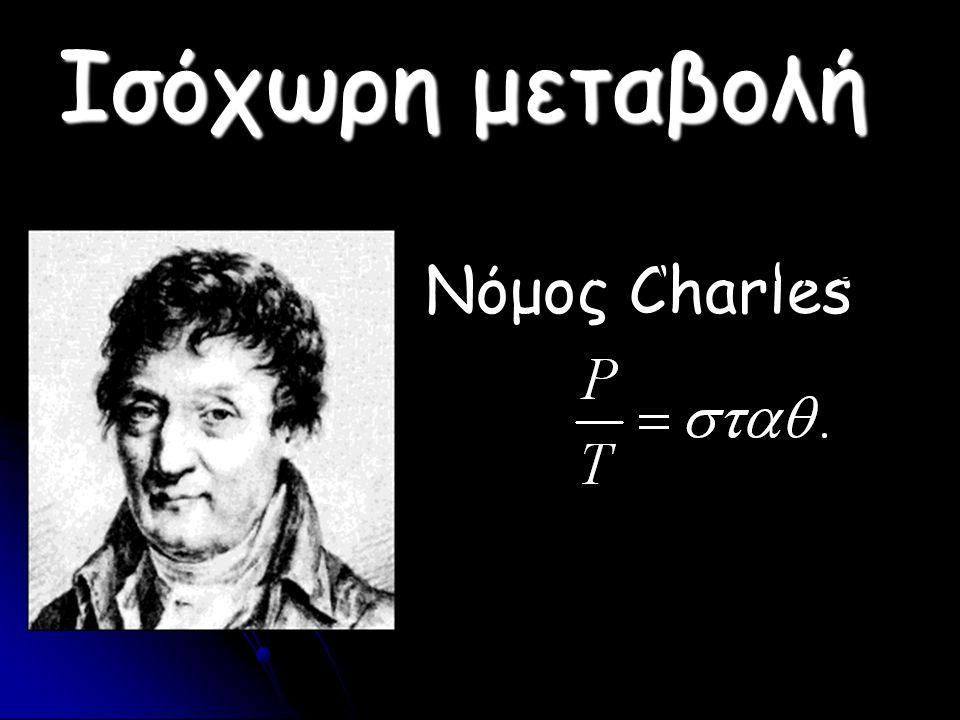 Ισόχωρη μεταβολή Όταν V = σταθ, τότε : Νόμος Charles