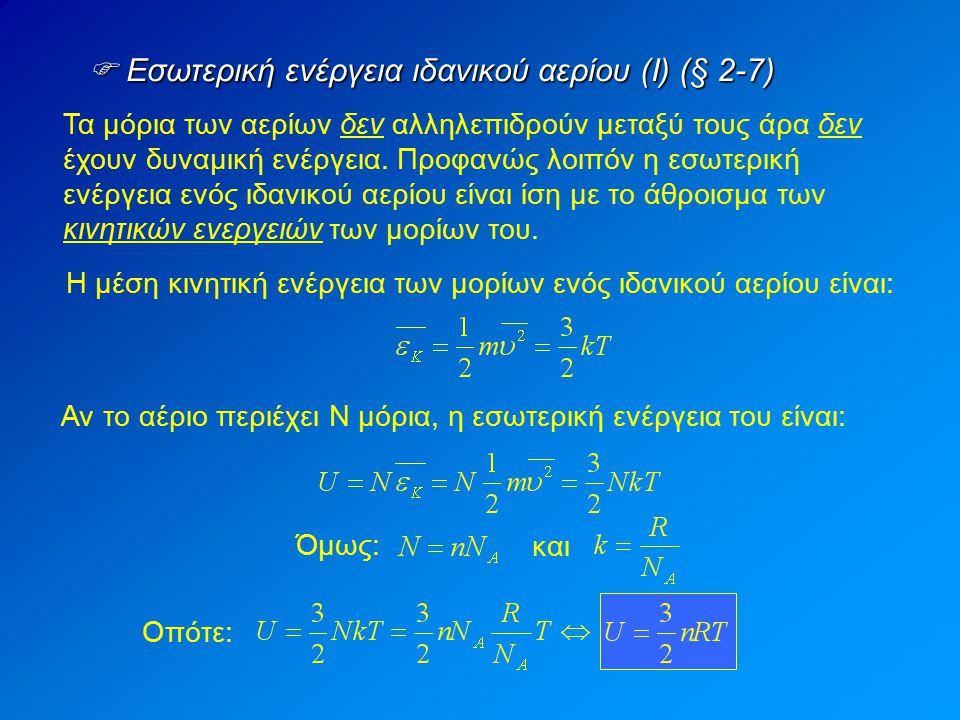  Εσωτερική ενέργεια ιδανικού αερίου (Ι) (§ 2-7)