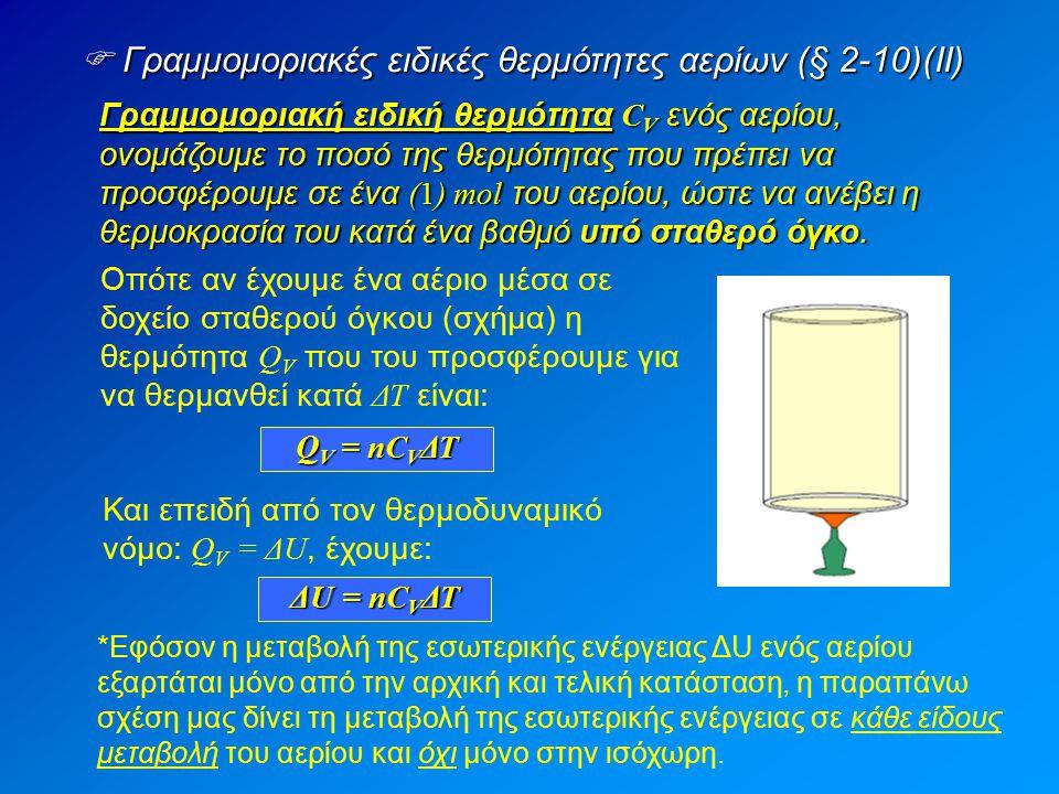  Γραμμομοριακές ειδικές θερμότητες αερίων (§ 2-10)(ΙΙ)