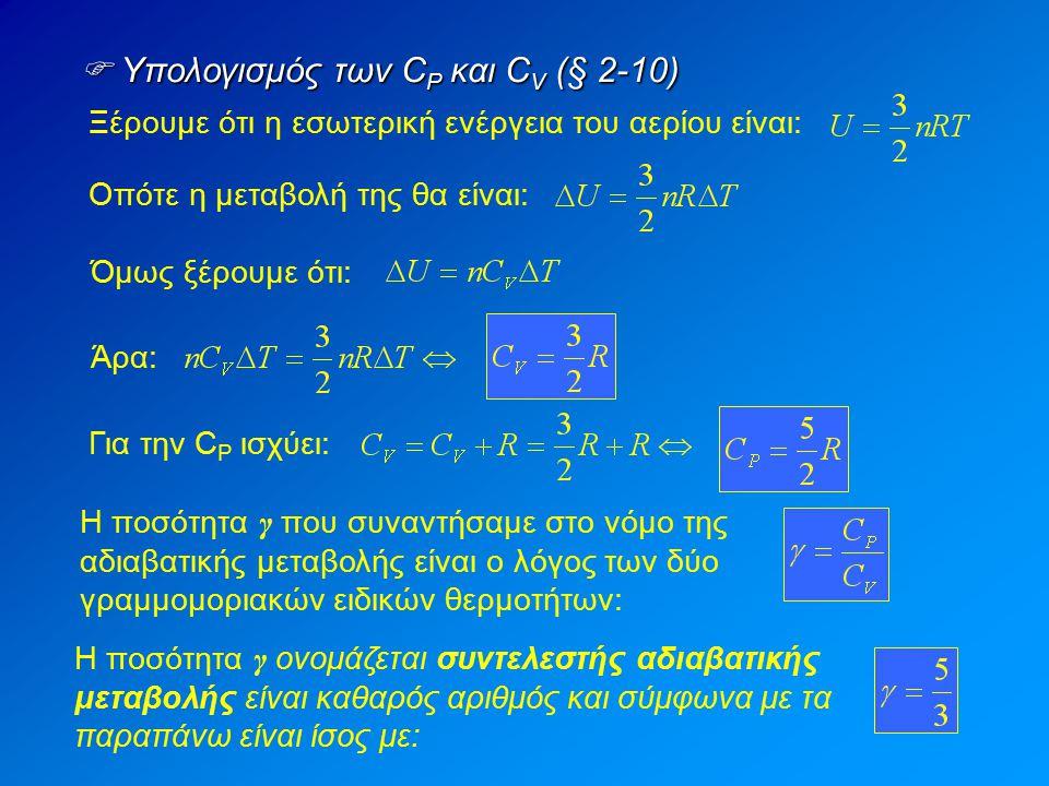  Υπολογισμός των CP και CV (§ 2-10)