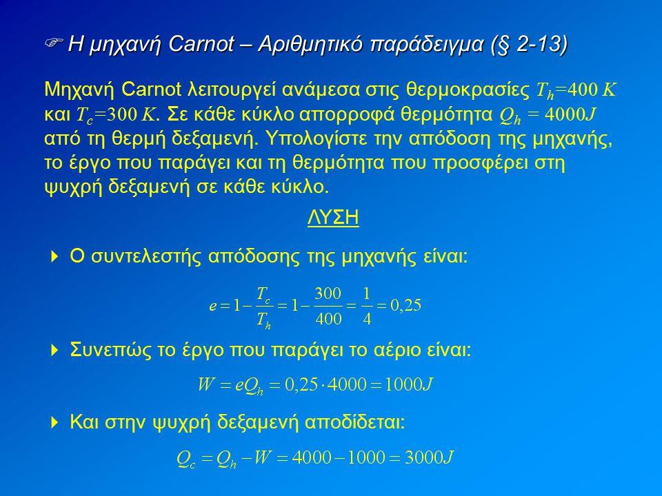  Η μηχανή Carnot – Αριθμητικό παράδειγμα (§ 2-13)
