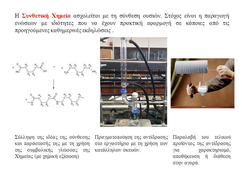 Η Συνθετική Χημεία ασχολείται με τη σύνθεση ουσιών