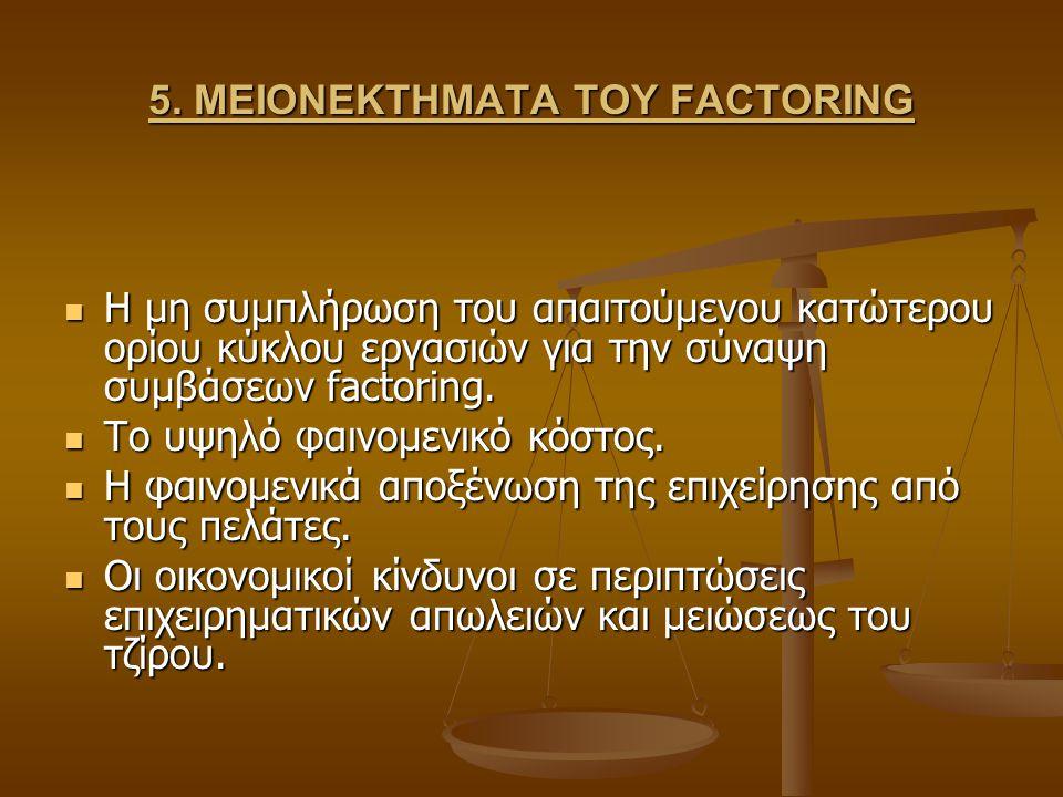 5. ΜΕΙΟΝΕΚΤΗΜΑΤΑ ΤΟΥ FACTORING