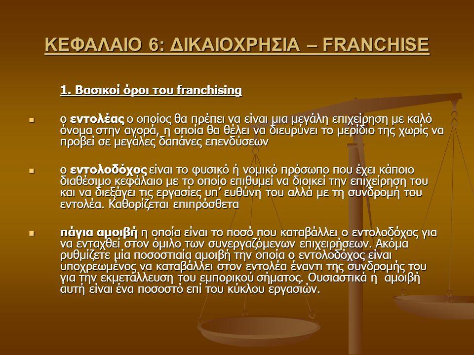 ΚΕΦΑΛΑΙΟ 6: ΔΙΚΑΙΟΧΡΗΣΙΑ – FRANCHISE