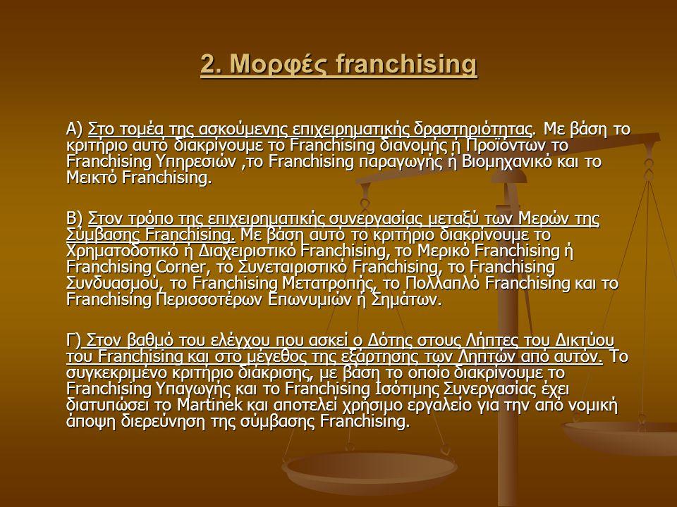 2. Μορφές franchising